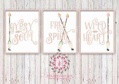 Gypsy Soul Free Spirit Wild Heart Set of 3 Boho Blush Tribal Arrow Nursery Baby Girl Room Printable Print Wall Decor