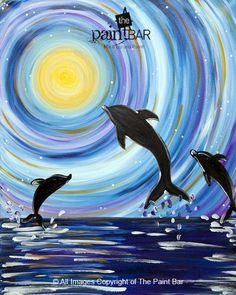 Moonlit Dolphins www.thepaintbar.com