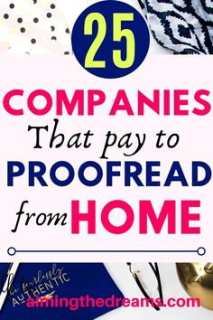 25 companies that pay to proofread from home. If you have an eye for detail and love to figure out errors then proofreading is for you. can help you create a which can and help you with and with your kids. Cash From Home, Work From Home Jobs, Make Money From Home, Make Money Online, Transcription Jobs For Beginners, Best Home Business, Business Ideas, Job Info, Proofreader