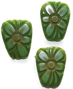 #2937 Green Bakelite Deeply Carved Floral Pin Earrings Set Exclusively at Lee Caplan Vintage Collection on RubyLane