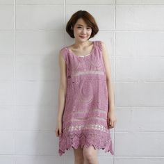 Sleeveless Dresses Lace Cotton Orchid Pink Color -www.tanbagshop.com