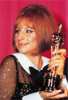 """1969 Oscars: Barbra Streisand, Best Actress 1968 for """"Funny Girl"""" (tied with Katharine Hepburn for """"The Lion in Winter"""") Hollywood Scenes, Hollywood Stars, Old Hollywood, Oscars, Best Actress Oscar, Oscar Wins, Celebrities Then And Now, Old Movie Stars, Barbra Streisand"""