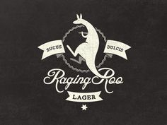 Dribbble - Raging Roo Lager - Fantasy Logo Design by Mathias Temmen