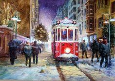 ÖMER MUZ, Sketches Of People, Drawing People, Train Illustration, Acrilic Paintings, Istanbul, Cross Stitch, Trains, Watercolor, Fine Art