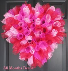 Deco Mesh Valentines Heart Wreath Pink Red Deco by AllMonthsDecor, $45.00