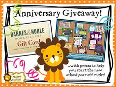 As a THANK YOU to everyone who has joined me on this wonderful journey of TpT, blogging, and Pinterest, I am having an anniversary giveaway on my blog. Some of my friends have kindly donated products, and you can win 12 amazing back to school resources as well as a Barnes and Noble Gift Card. Stop by and check it out! The giveaway ends on June 23. Happy summer and thanks again!