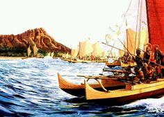 Hawai'ian History ~ King Kamehameha's War Canoe with mounted cannon on the bow ...