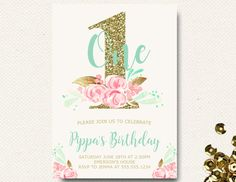 Girls First Birthday Invitation  Mint Pink Gold Floral