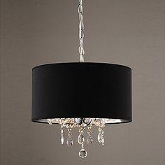 60W con cuentas de cristal moderno Lámpara colgante con 3 luces y sombra Tambor Negro – USD $ 239.99