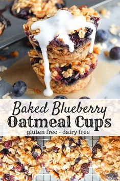 Baked Blueberry Oatmeal Cups are an easy breakfast to prep ahead for busy mornings and when you're on the go! Made with gluten free oats, maple syrup, fresh blueberries, and only a few other simple ingredients, you're going to love these hea. Clean Eating Snacks, Healthy Snacks, Healthy Blueberry Recipes, Blueberry Recipes For Breakfast, Gluten Free Recipes For Breakfast, Eating Raw, Dinner Recipes, Gluten Free Oatmeal, Breakfast Bake