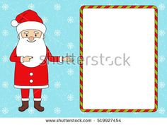 Santa pointing in blank advertisement banner. Christmas sale. Vector illustration. Put your message.