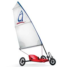 The Land Sailor - This is the three-wheeled craft that harnesses the wind's power for speeds up to 25 mph, enabling rank amateurs to sail effortlessly across any open, flat surface without the need for prior sailing experience.
