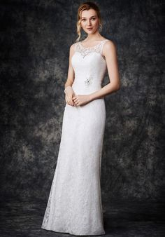 Tendance Robe du mariage 2017 2018 - Sheath wedding dress with illusion  neckline and embellished lace I Style  GA2266. 2eee4b6d2d5b