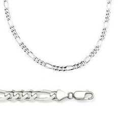 """14k Solid White Gold Figaro Chain Necklace 4mm 22"""" >>> Details can be found by clicking on the image."""
