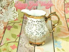 Vintage White and Gold Creamer by Bareuther Waldsassen of Bavaria Germany, Gold & White Porcelain Creamer, Fancy White Creamer Pitcher Gift