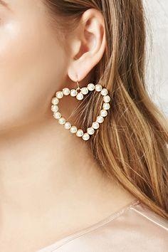 A pair of drop earrings featuring faux pearls, a heart shape, a high-polish back, and a fish-hook closure. Rhinestone Earrings, Bridal Earrings, Flower Earrings, Drop Earrings, Forever 21, Shop Forever, Opal, Amethyst, Korean Jewelry
