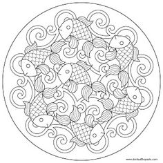 Cool coloring page.  I see bright yellows, oranges, blues and greens.  A fun way to spend a few hours for me. Coloring Book Pages, Mandala Coloring Pages, Printable Coloring Pages, Coloring Sheets, Free Coloring, Colouring, Carp, Goldfish, Line Art