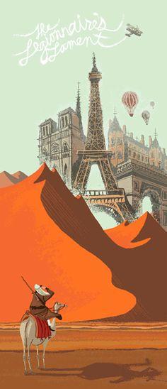 The Legionnaire's Lament (The Decemberists) - Chris Turnham… Illustration Sketches, Illustrations Posters, Retro Art, Vintage Travel Posters, Graphic Design Typography, Paris, Beautiful Artwork, Art World, Art Pictures