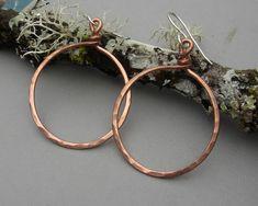 Big Copper Hoop Earrings  Basic Bold Hammered by nicholasandfelice, $18.00