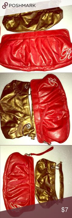 1 Red and 1 Gold Small Size Purses 2 Purses for the Price of One! Slight worn, Good condition! Red and Gold! Bags