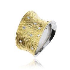 Pierścionek srebrny złocony z cyrkoniami