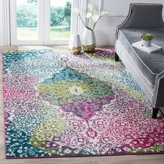 Safavieh Watercolor Bohemian Medallion Ivory/ Fuchsia Rug (6' 7 x 9') - Free Shipping Today - Overstock.com - 20002960 - Mobile