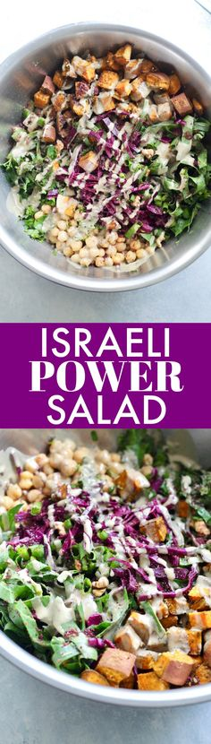 This Israeli Power Salad with Za'atar Roasted Sweet Potatoes is a bright and flavorful dish packed with crunchy, colorful veggies for a filling and healthy one-bowl meal. Vegan and gluten-free.