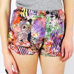 vtg 80s 90s new wave nu rave ABSTRACT print HIGH WAIST RUNNING mini shorts S/M $18.00