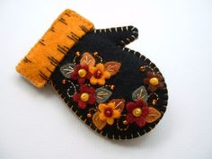 Beaded Felt  Autumn Mitten