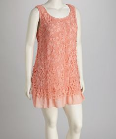 Take a look at this Peach Plus-Size Sleeveless Dress by Perch by Blu Pepper on #zulily today! $27.99, regular 75.00