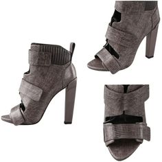 Pre-owned Alexander Wang Noemi Peep-toe Leather Boots Grey-ish Sandals ($268) ❤ liked on Polyvore featuring shoes, sandals, velcro shoes, grey sandals, high heel platform sandals, chunky high heel sandals and leather high heel sandal