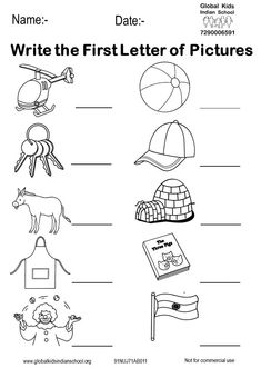 Kindergarten - Global Kids Indian School Nursery Worksheets, English Worksheets For Kindergarten, Printable Preschool Worksheets, English Worksheets For Kids, English Lessons For Kids, Phonics Worksheets, Alphabet Worksheets, In Kindergarten, Kids Alphabet