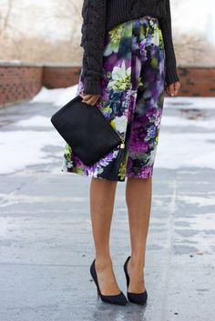 winter blooms | floral midi skirt & loren hope necklace #ootd