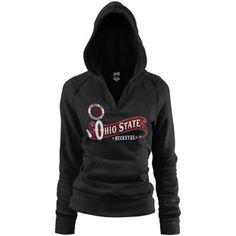 Ohio State Buckeyes Ladies Black Rugby Distressed Deep V-neck Hoodie Sweatshirt