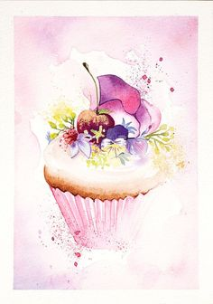 ARTFINDER: A celebration cupcake by Enya Todd - Cherry with a dust of gold:)