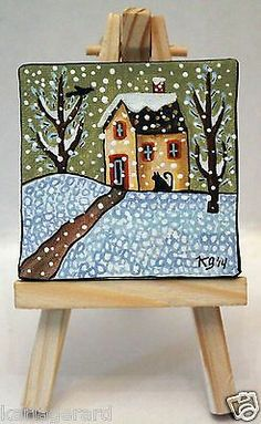 Snow Season 2 1/2 x 2 1/2 inches ORIGINAL PAINTING & EASEL FOLK ART Karla G...Brand new mini painting with easel...now for sale..