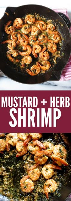 Delicious shrimp recipe with that tangy, spicy mustard we all love! You'll be drooling for this Mustard + Herb Shrimp - it's low carb, gluten free + paleo! thetoastedpinenut.com