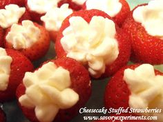 No-Bake Cheesecake Stuffed Strawberries - Single bite desserts, perfect for BBQ's and pot lucks! Easy No Bake Desserts, Just Desserts, Delicious Desserts, Dessert Recipes, Yummy Food, Bbq Desserts, Drink Recipes, Strawberry Cheesecake, Strawberry Recipes