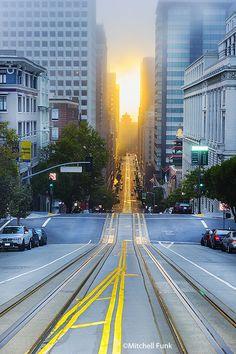California Street On Nob Hill View At Sunrise,  San Francisco By Mitchell Funk  www.mitchellfunk.com