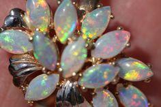 Vintage 14k Gold Australian Opal Cluster Cocktail Ring