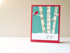 Winter Birch Trees Christmas Card Handmade Card by newnanc