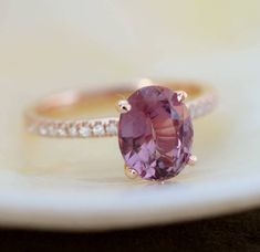 Grape Sapphire Engagement Ring. Rose Gold Ring. 14k rose gold diamond ring.Purple Sapphire 2.33ct. Engagement ring by Eidelprecious