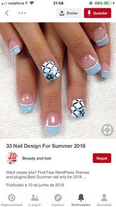 Manicure Nail Designs, Nail Manicure, Gel Nails, Acrylic Nails, Nail Polish, French Nail Art, French Nail Designs, Nail Techniques, 4th Of July Nails