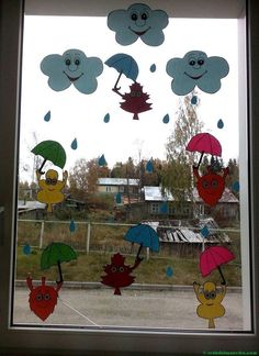 Ideas de otoño para decorar ventanas-4 Autumn Activities For Kids, Dog Activities, Easy Fall Crafts, Summer Crafts, Diy Quilling Crafts, School Wall Decoration, Diy For Kids, Crafts For Kids, Carnival Crafts