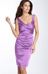 Suzi Chin for Maggy Boutique Ruched Stretch Satin Sheath Dress