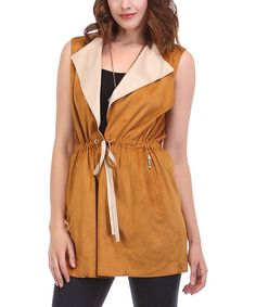 Look at this Brown Drawstring Vest on #zulily today!