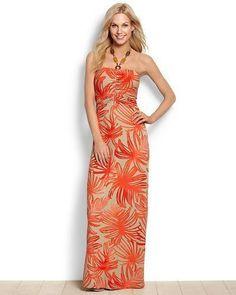 Tommy Bahama International Fit Tambour Coral Jungle Maxi Dress Womens Dress