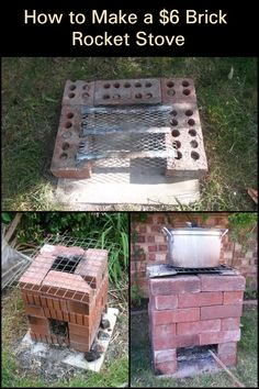 Need a temporary, easy-to-build stove? Just grab 16 pieces of bricks and you are all set for this DIY brick rocket stove! Diy Outdoor Kitchen, Outdoor Oven, Outdoor Cooking, Fire Pit Grill, Diy Fire Pit, Outdoor Projects, Easy Diy Projects, Cinder Block Fire Pit, Rocket Stoves