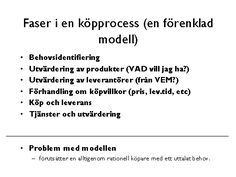 Faser i en köpprocess (en förenklad modell)