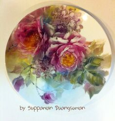 porcelain rose painting by Suppawan Duangsuwan